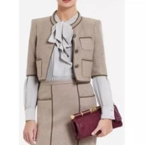 BCBGMaxAzria Dickenson Cropped Jacket Small Taupe